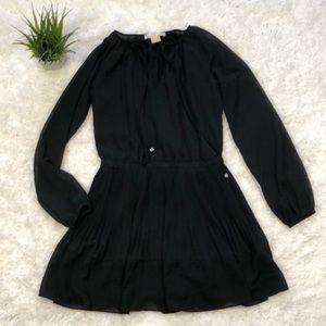 Michael Kors Petite Long Sleeve Black Dress